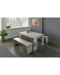TABLE 140CM + 2 BANCS BETON