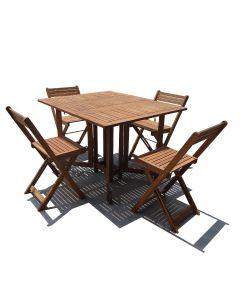 TABLE + 4 CHAISES ACACIA