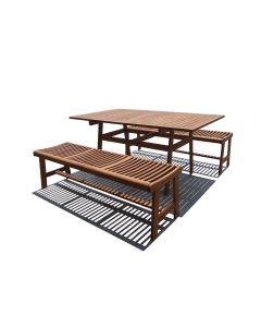 TABLE RECTANGLE + 2 BANCS ACACIA
