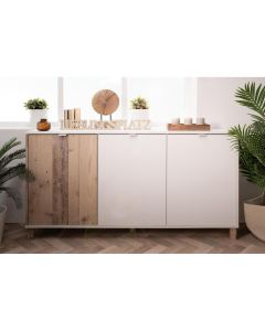 COMMODE 3 PORTES BLANC / OLD STYLE CLAIR
