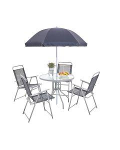 TABLE RONDE + 4 CHAISES AVEC ACCOUDOIRS+ 1 PARASOL T