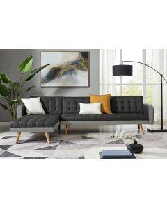 CANAPE D'ANGLE TISSU NOIR/PVC BLANC